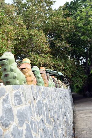 chonburi: Beautiful worm statue on a stone wall in attractions sichang island., chonburi, Thailand