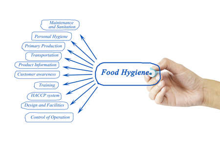 food hygiene: Women hand writing element of Food Hygiene Principle concept for use in manufacturing(Training and Presentation)