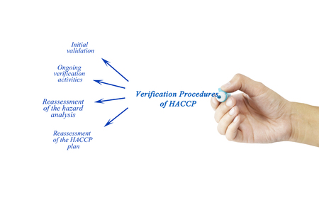 reassessment: Women hand writing element of Verification Procedures of HACCP for business concept and use in manufacturing(Training and Presentation)