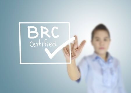 BRC certified icon or symbol image concept design with business women for business concept. business concept