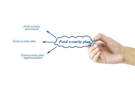 assessment system: Women hand writing element of Food security plan for business concept and use in manufacturing(Training and Presentation)