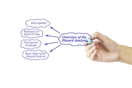 Women hand writing element of Overview of the Hazard Analysis for business concept and use in manufacturing(Training and Presentation) Stock Photo