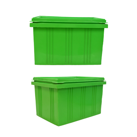 storage bin: green plastic box packaging of finished goods product on white background with clipping paths