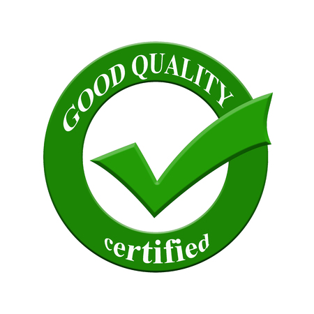 certify: Good Quality certified icon or symbol image concept design with business women for business concept. business concept