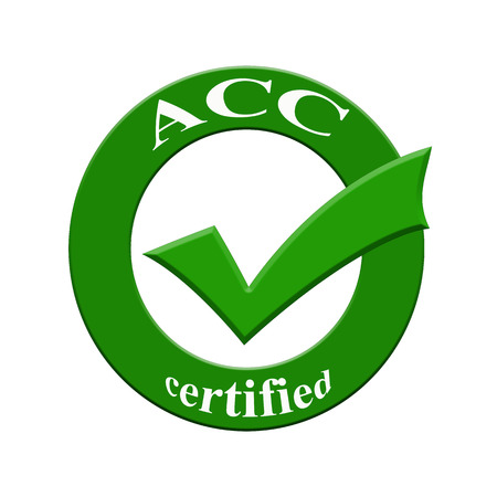 certify: ACC certified icon or symbol image concept design with business women for business concept. business concept