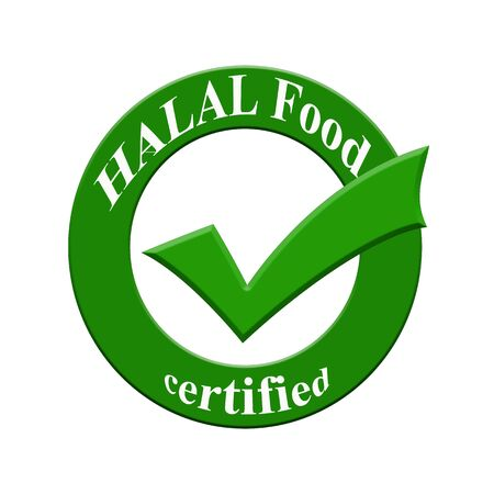 HALAL Food certified icon or symbol image concept design with business women for business concept. business concept Stock Photo