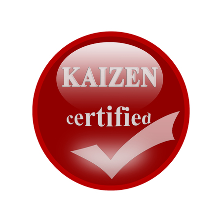 certify: Kaizen certified icon or symbol image concept design with business women for business concept. business concept