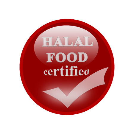 certify: HALAL  Food certified icon or symbol image concept design with business women for business concept. business concept Stock Photo