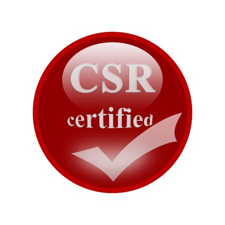 certify: CSR certified icon or symbol image concept design with business women for business concept. business concept