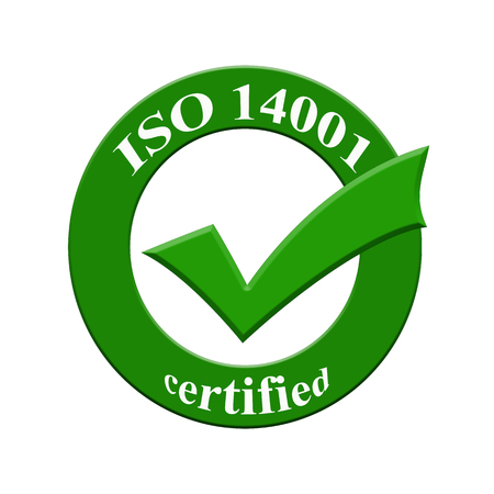 certify: ISO 14001 certified icon or symbol image concept design with business women for business concept. business concept