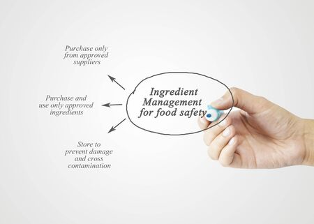 food safety: Hand writing element of  Ingredient Management for Food Safety  for business concept, business strategy. (Training and Presentation)