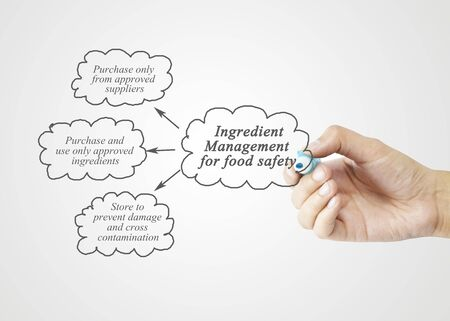 formulation: Hand writing element of  Ingredient Management for Food Safety  for business concept, business strategy. (Training and Presentation)