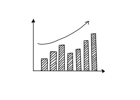 hand drawing a growth graph on white background.