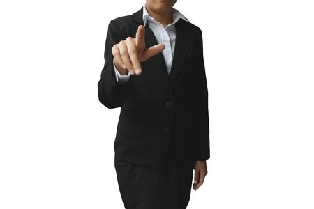 Business woman with hand showing blank sign isolated on white background. This picture has clipping path for easy to use.