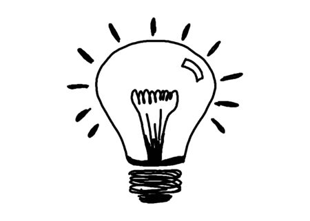 filament: hand drawn Light bulb icon or symbol with concept of idea on white background( electricity and energy). Stock Photo