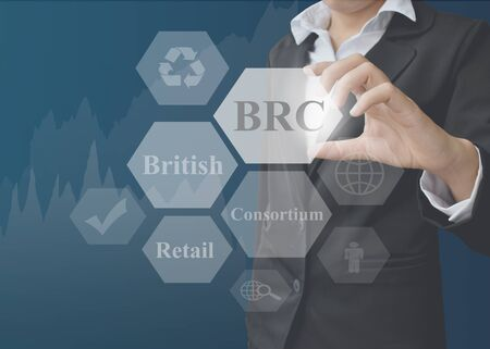 businesswoman showing presentation BRC(British Retail Consortium) concept for use in company and training. Stock Photo