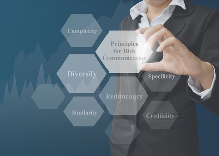 specificity: businesswoman showing presentation Principles for Risk Communication concept for use in company and training.