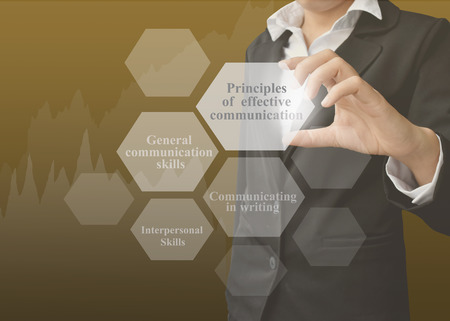 businesswoman showing presentation Principles Communication concept for use in company and training.