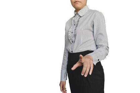 Business woman with hand showing blank sign isolated on white background. Stock Photo