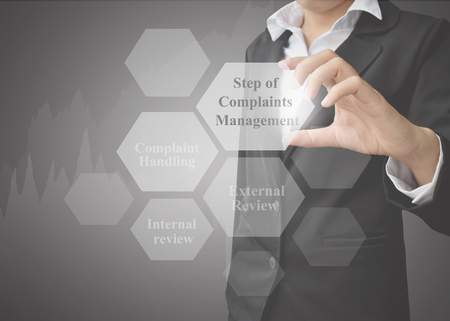 Business woman showing presentation element of Step of Complaints Management concept for used in company and training.