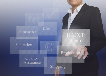 Businesswoman with presentation element of HACCP team concept for use in manufacturing, training and company system.