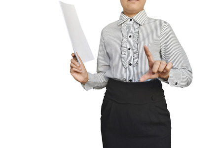 Business woman with hand showing blank sign isolated on white background. Banco de Imagens