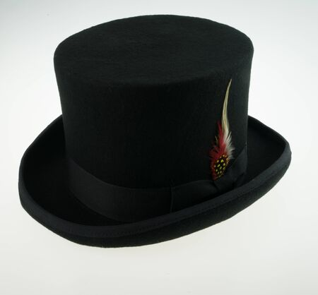 black hat: top hat wool with feather