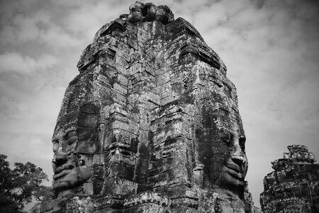 angor: black and white Big face of Angor Thom