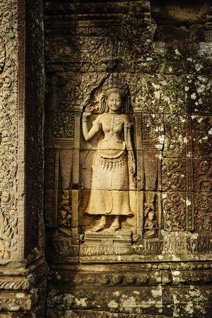 angor: rock cambodia angel sculpture in Angor Thom Stock Photo