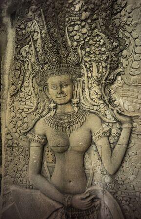 angor: rock cambodia angel sculpture in Angor Wat