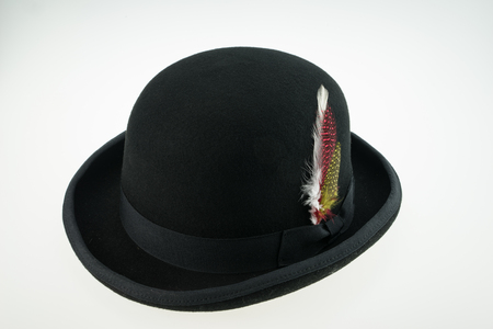 hat with feather: black bower hat with feather