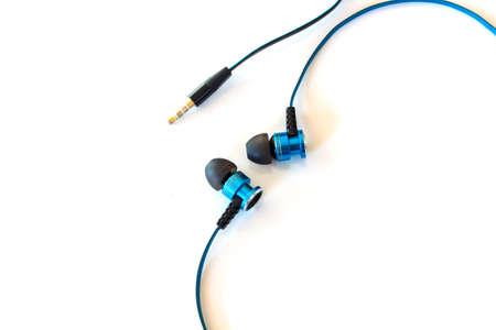 earphone: blue earphone white isolated