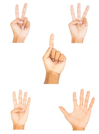 alzando la mano: colección de símbolo de la mano del dedo