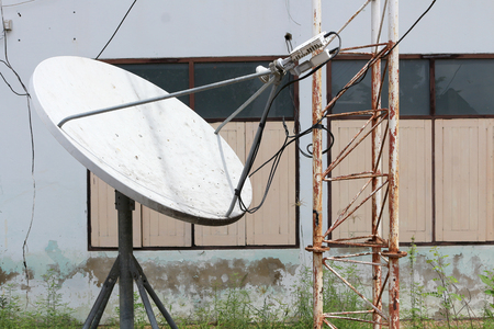 receiver: abandoned satellite dish dirty and damage