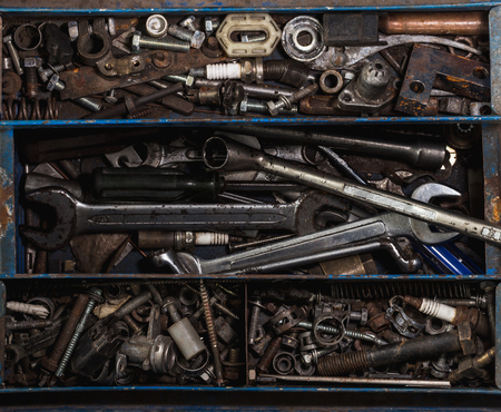 storage box: toolbox on flat lay view with many tools for industry idea Stock Photo
