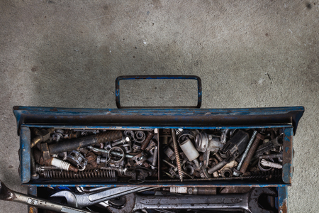 storage box: toolbox on flat lay view with many tools and space for some text Stock Photo