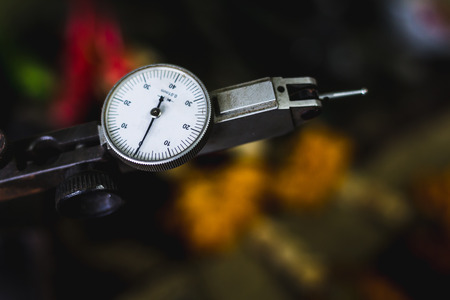 depth gauge: close up dial gauge. most important Measurement Tool for industry Stock Photo