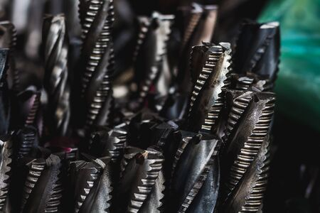 many of endmill tool close up and shiny industry concept Stock Photo