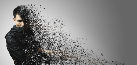 dispersion effect of asian man with leather cloth body shattering 版權商用圖片