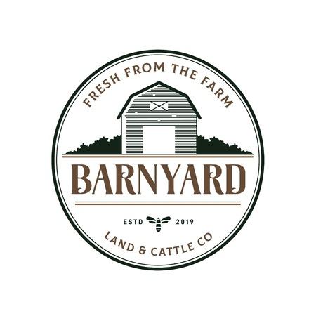 Vintage classic stamp badge barn illustration logo design