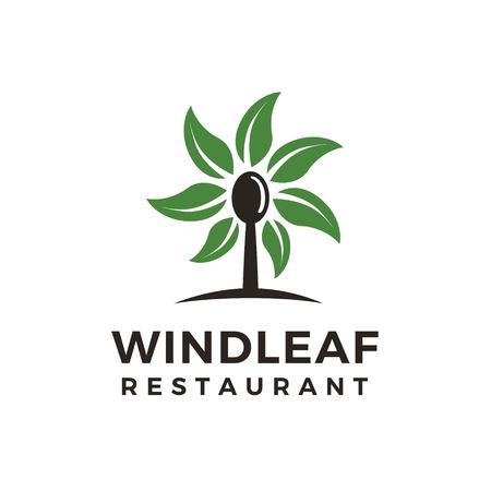 spoon windmill leaf restaurant logo design Ilustrace