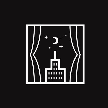 Windows with moon stars and buildings logo design line art illustration Illustration