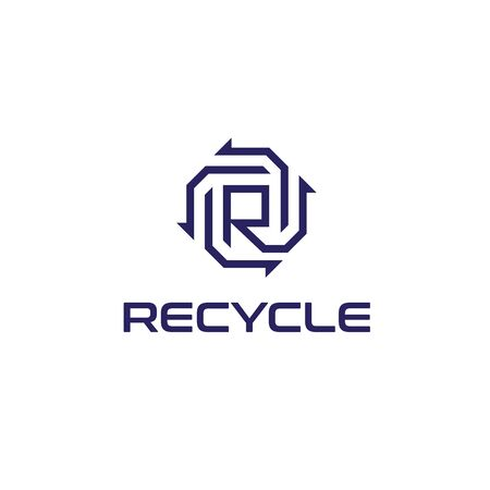 initial letter R with recycle arrow logo design inspiration 写真素材 - 124532200