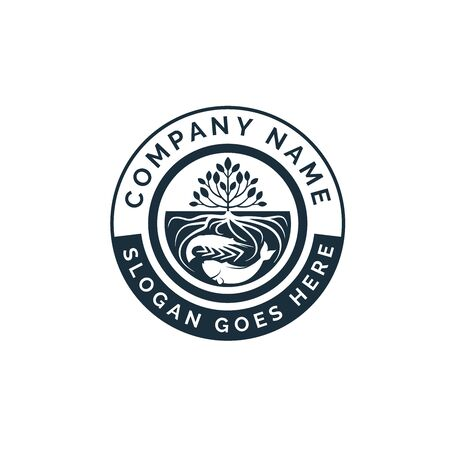 hydroponics emblem logo design with trees and roots inside water with shrimp and fish