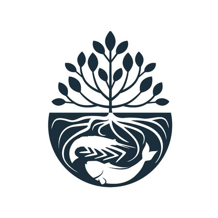trees with roots inside water with shrimp and fish logo design inspiration