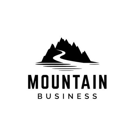 Mountain silhouette with road logo design Ilustração