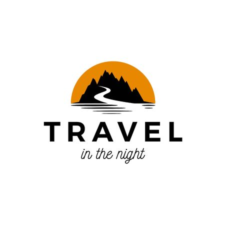 Mountain silhouette with road and yellow sun logo design