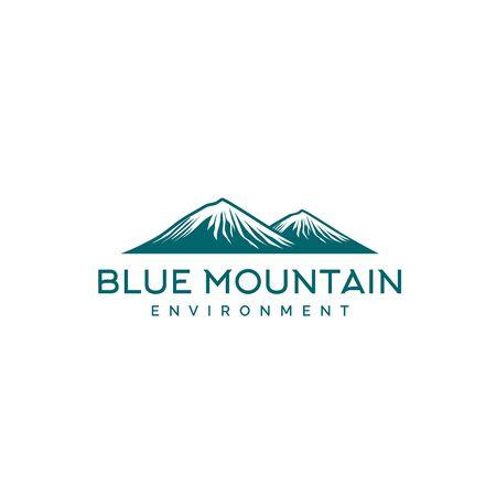 Blue snow mountain panorama illustration logo design Ilustração