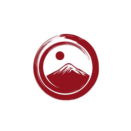 Japanese mountain with sun inside circle brushstroke illustration logo design