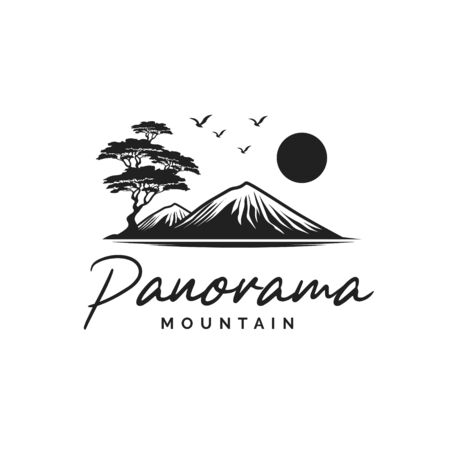 Black and white landscape illustration logo design with trees, birds and sun